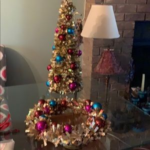 Pier One Tree and matching Wreath. Gold/turquoise